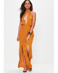 76f6e39dcc Missguided Orange Cheesecloth Split Front Maxi Dress in Orange - Lyst