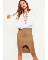 Missguided Brown Faux Suede Extreme Split Front Midi Skirt