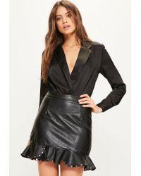 Missguided   Black Blazer Bodysuit   Lyst