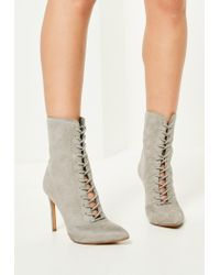 Missguided | Gray Grey Pointed Lace Up Heeled Ankle Boots | Lyst