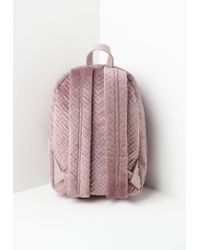 Missguided - Pink Stitch Detail Velvet Backpack - Lyst