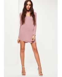 Missguided - Pink Choker Neck Curved Hem Bodycon Dress - Lyst