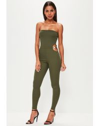 Missguided | Green Khaki Bandeau Buckle Waist Unitard Jumpsuit | Lyst