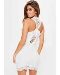Missguided | White Lace Fringe Detail Mini Dress | Lyst