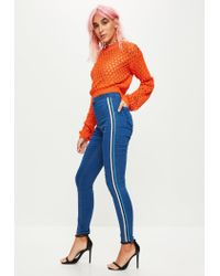 Missguided - Blue Vice High Waisted Side Stripe Skinny Jeans - Lyst
