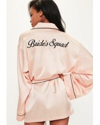 Missguided | Pink Satin Embroidered Piped Robe | Lyst