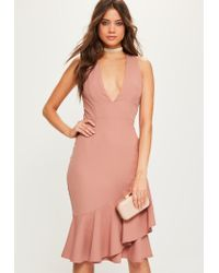 Missguided   Pink Crepe Sleeveless Ruffle Hem Midi Dress   Lyst