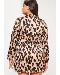 Missguided - Plus Size Brown Leopard Print Wrap Dress - Lyst