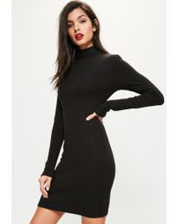 Missguided | Tall Exclusive Black Ribbed High Neck Dress | Lyst