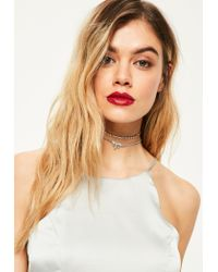 Missguided | Metallic Silver Diamante Trim Choker Necklace Set | Lyst