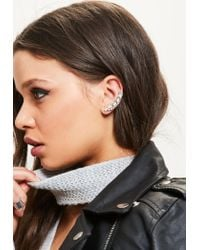 Missguided | Metallic Silver Stud & Cuff Earrings Set | Lyst