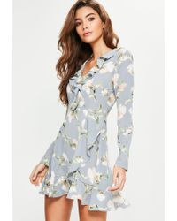 Missguided | Blue Floral Ruffle Tea Dress | Lyst