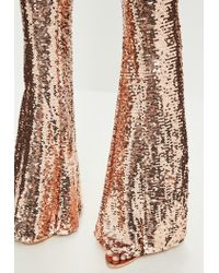 Missguided - Metallic Peace + Love Gold Sequin Trousers - Lyst