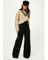 Missguided - Natural Camel Lace Up Sleeve Plunge Jumper - Lyst