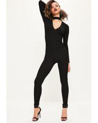 Missguided | Black Tab Neck Rib Jumpsuit | Lyst
