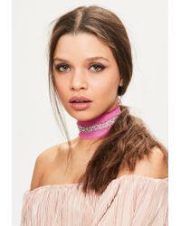 Missguided   Pink Denim Diamante Trim Choker Necklace   Lyst