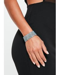 Missguided - Metallic Silver Diamante Cuff Bracelet - Lyst