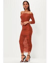 Missguided | Orange Bardot Ruched Mesh Maxi Dress | Lyst
