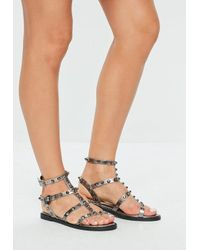 61e1ca335d3871 Missguided Grey Dome Stud Gladiator Sandals in Gray - Lyst