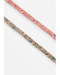 Missguided | 2 Pack Pink Glitter Choker Necklace | Lyst