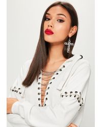 Missguided - White Metal Detail Hooded Jumper Dress - Lyst