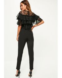 Missguided - Black Lace Frill Sleeve Jumpsuit - Lyst