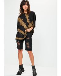 Missguided - Black Extreme Washed Ring Detail T-shirt - Lyst