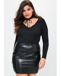 e83a7d795f814 Lyst - Missguided Plus Size Black Ribbed Lace Up Choker Neck Top in ...