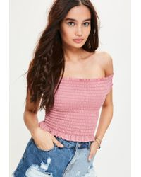 Missguided - Pink Shirred Bardot Short Sleeve Top - Lyst