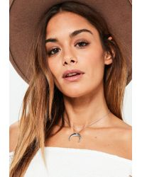 Missguided | Metallic Silver Small Eye Crecent Moon Choker Necklace | Lyst