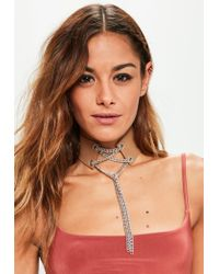 Missguided | Natural Camel Lace Up Chain Detail Choker Necklace | Lyst