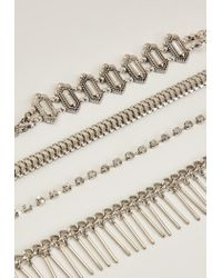 Missguided | Metallic Silver Multi Chain Choker Necklace Pack | Lyst