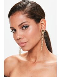 Missguided | Metallic Gold Oversized Chain Drop Earrings | Lyst