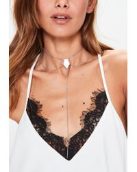 Missguided | Metallic Silver Drop Pendant Necklace | Lyst