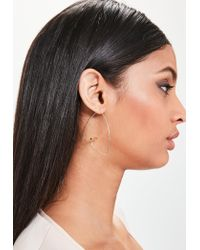 Missguided | Metallic Gold Bar Hoop Earrings | Lyst