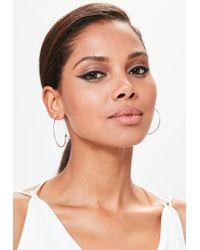 Missguided - Metallic Silver Thin Hoop Earrings - Lyst