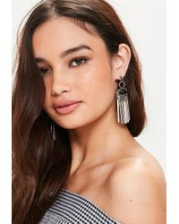 Missguided | Metallic Silver Boho Hanging Earrings | Lyst