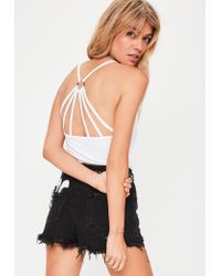 Missguided | White Harness Back Bodysuit | Lyst