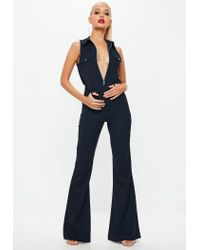 b53905bbe2a5 Lyst - Missguided Navy High Neck Utility Wide Leg Jumpsuit in Blue