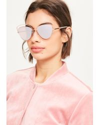 Missguided - Pink Rose Gold Cat Eye Metal Frame Sunglasses - Lyst