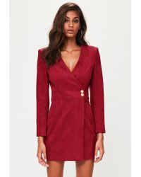 20a3b1c4637 Lyst - Missguided Peace + Love Red Faux Suede Wrap Dress in Red