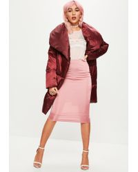 Missguided - Red Burgundy Waterfall Padded Jacket - Lyst