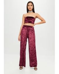 Missguided - Red Burgundy Crushed Velvet Trousers - Lyst