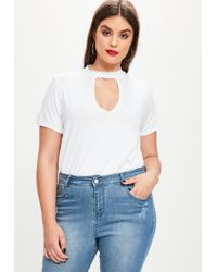 cb7aba0c9d6 Lyst - Missguided Curve White Choker Neck T-shirt in White
