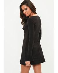 Missguided - Black Long Sleeve Frill Cuff Swing Dress - Lyst