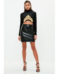 Missguided - Black Velvet High Neck Baroque Crop Top - Lyst