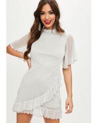 Lyst - Missguided Grey Dobby Metallic Mesh Dress in Gray 78cf8eff3