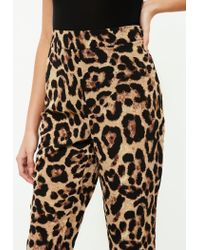 Missguided Brown Leopard Print Tailored Cigarette Trousers