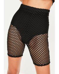 Missguided - Black Fishnet Mesh Cycling Shorts - Lyst
