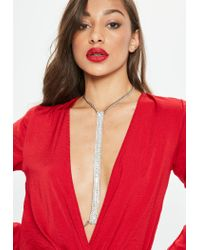 Missguided - Metallic Silver Strip Harness - Lyst